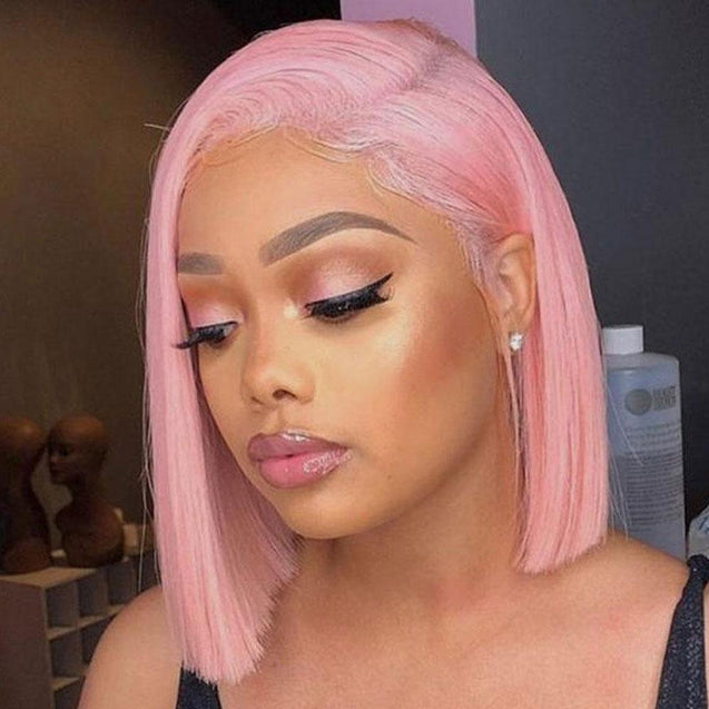 Pink Bob Lace Front Wig Colored Short Human Hair Wigs -SULMY