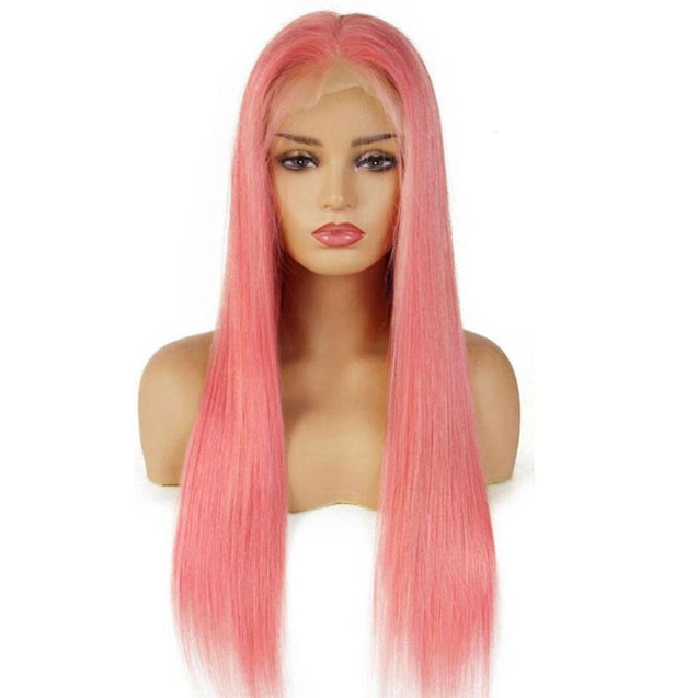 Pink Lace Front Wigs Long Human Hair Wig.