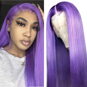 Purple Wigs Human Hair Lilac Lace Front Wigs SULMY