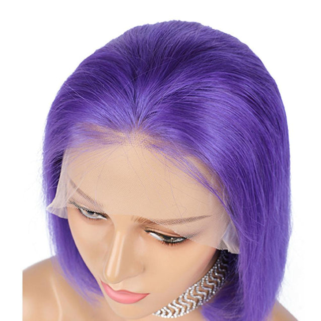 Purple Bob Lace Front Wig Colored Short Human Hair Wigs -SULMY