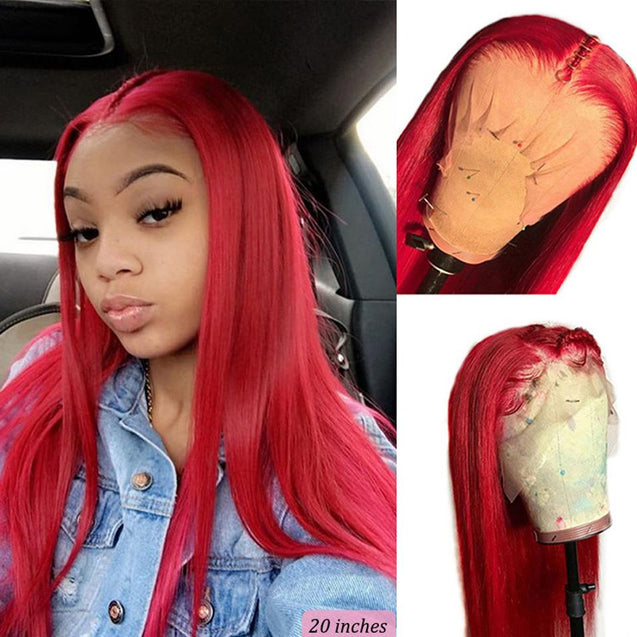 Red Wigs Human Hair Bright Red Lace Front Colored Wigs SULMY.