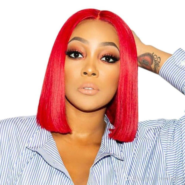 Red Bob Lace Front Wig Colored Short Human Hair Wigs -SULMY