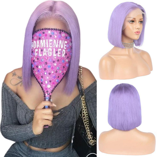 Violet Bob Lace Front Wig Colored Short Human Hair Wigs -SULMY