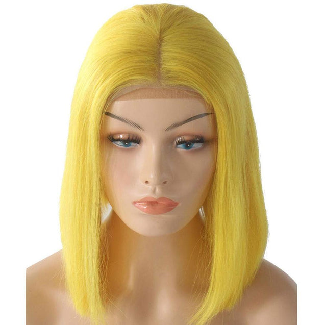 Yellow Bob Lace Front Wig Colored Short Human Hair Wigs -SULMY.