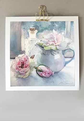 rainy day roses - watercolour by Annie Domini