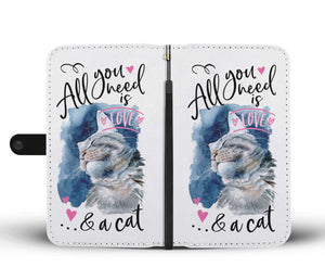 Adorable Love and Cat 360 custom printed Wallet Case