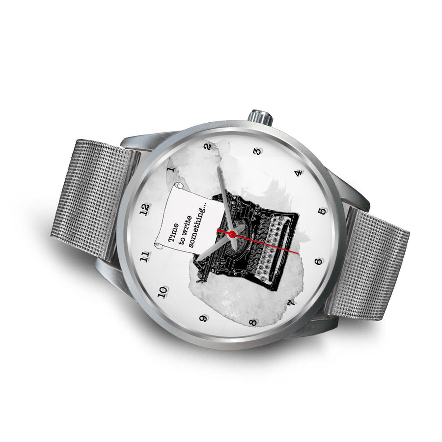 Custom Designed Silver Writer's Watch
