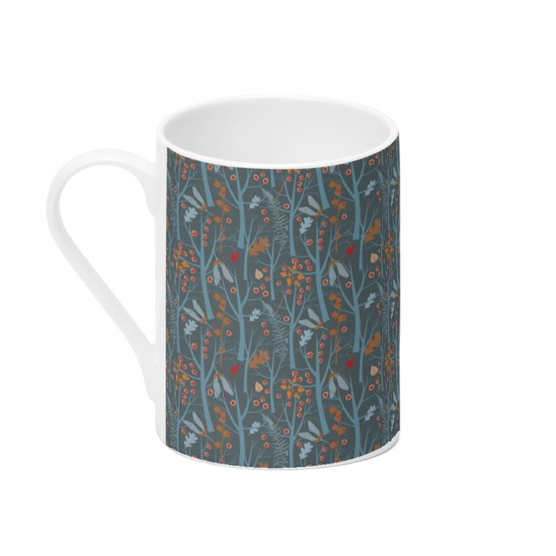 Bone chine mug November Mist in blue grey