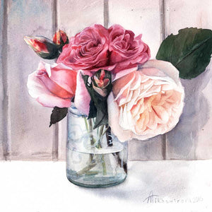 Afternoon Roses - Greeting card