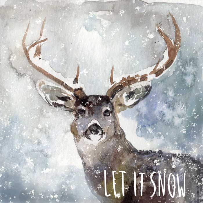 Deer in the Snow - Christmas Greeting card