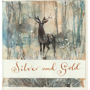 Silver and Gold - handmade watercolour greeting card