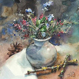 Heather and Forget-Me-Not Still Life
