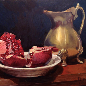 Pomegranate and a Brass Jug - artist digital print