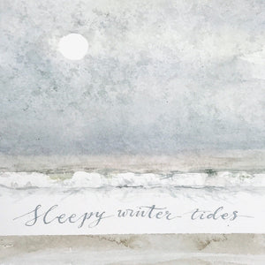 Sleepy Winter Tides - handmade watercolour greeting card