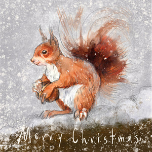 Squirrel in the Snow - Christmas Greeting card