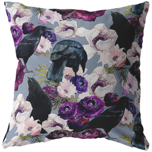 Crows and Flowers Pillow