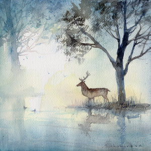 Deer by the River - original watercolour