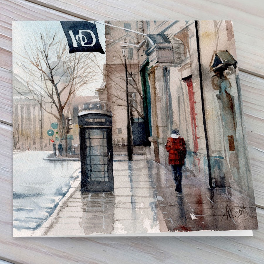 London in the Rain - Greeting card