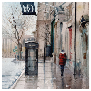 watercolour painting of London street near Institute of Directors wet with rain, long reflections on the pavement black phone box