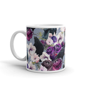Crows and Flowers Custom Printed Mug