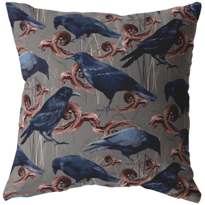 Crows and Leaves Pillow