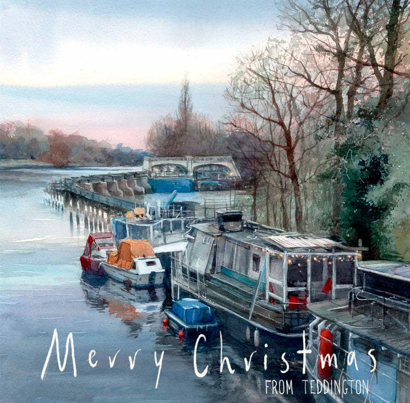 Winter at Teddington Lock - Christmas Greeting Card