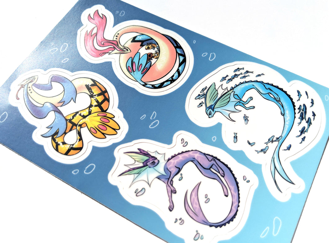 Vaporeon and MIlotic Vinyl Sticker Sheet