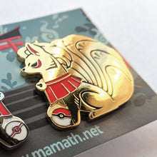 "Load image into Gallery viewer, NINETALES ""Shrine"" style Pair PINS - polished version"