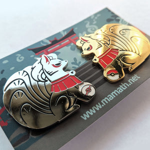 "NINETALES ""Shrine"" style Pair PINS - polished version"