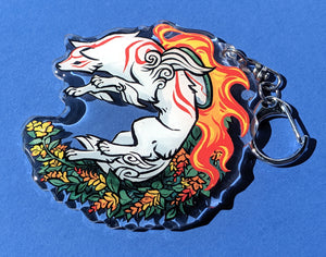 Floral -Mother to us All- Amaterasu and Chibiterasu Acrylic Keychain
