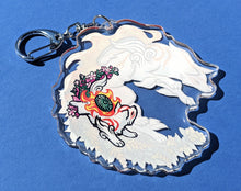 Load image into Gallery viewer, Floral -Mother to us All- Amaterasu and Chibiterasu Acrylic Keychain