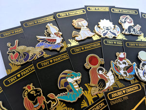 Tiny Pantheon COMPLETE SET of Egyptian Mythology Enamel Pins