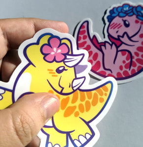 SWEET SAURIANS 3-Inch Vinyl Stickers: Triceratops and T-rex