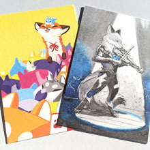 Load image into Gallery viewer, Foxy postcard prints: Boxfox and Bluebell