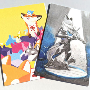 Foxy postcard prints: Boxfox and Bluebell