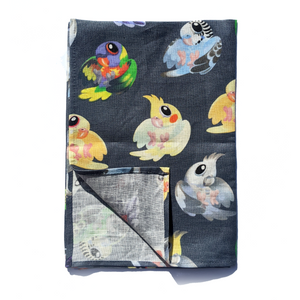Aussie Parrots Linen Art Tea Towel