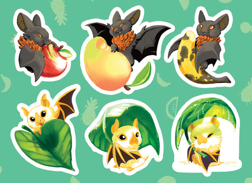 BATTYBATS Vinyl Sticker Sheet - Australian Fruit Bat and Honduran Bat