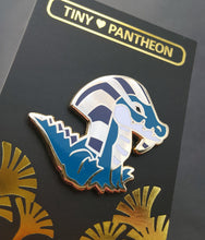 Load image into Gallery viewer, Sobek Enamel Pin (Tiny Pantheon 2018)