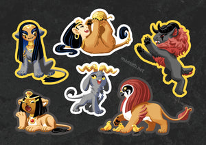 Tiny Pantheon Sphinxes Vinyl Sticker Sheet