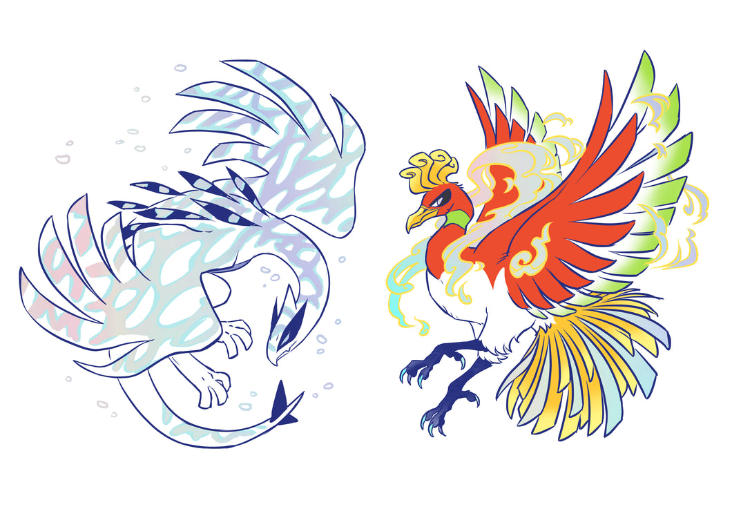 Tower Duo Ho-oh and Lugia Holo Vinyl Sticker Sheet