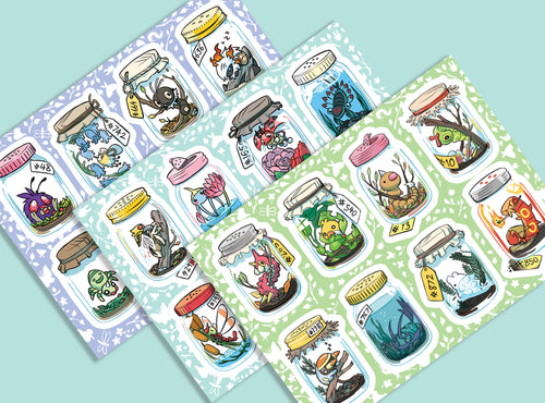 POKEBUGS Bug-Type Pokemon Vinyl Sticker Sheet