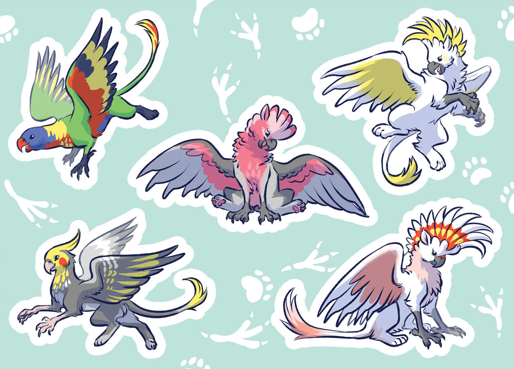 Australian Parrot Griffin Vinyl Sticker Sheet