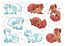 Load image into Gallery viewer, Autumn/Winter Vulpixes Sparkly Holo Vinyl Sticker Sheet
