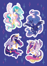 Load image into Gallery viewer, MLP Alicorn Princesses Sparkly Holo Vinyl Sticker Sheet