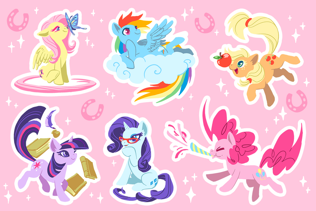 My Little Pony Classic Mane Six Vinyl Sticker Sheet