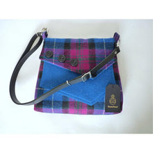 Load image into Gallery viewer, Harris Tweed bag, shoulder bag, crossbody bag in bright blue and cerise check with a front pocket and flap finished with three decorative buttons and a black leather strap