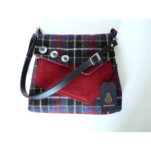 Harris Tweed bag, shoulder bag, crossbody bag in blue and red check with a front pocket and flap finished with three decorative buttons and a black leather strap