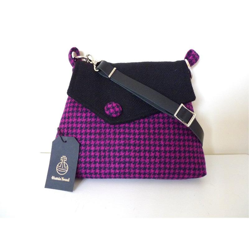 Harris Tweed Austwick Shoulder Bag - Fuchsia Pink & Black Check