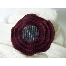 Load image into Gallery viewer, Harris Tweed three layer brooch in rich burgundy with a 29mm check self cover button.