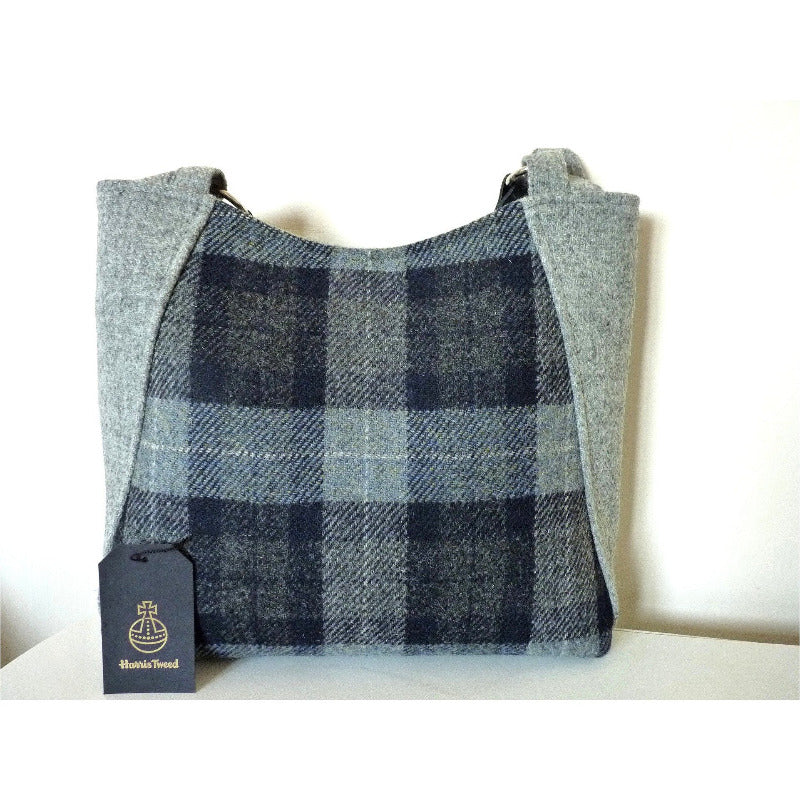 Harris Tweed tote bag/ shopping bag - blue and grey check with magnetic catch fastener